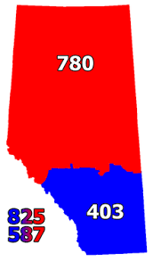 AB Area Codes Map