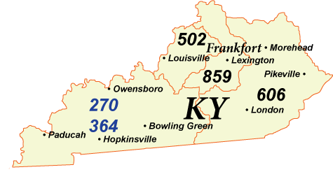 KY Area Codes Map