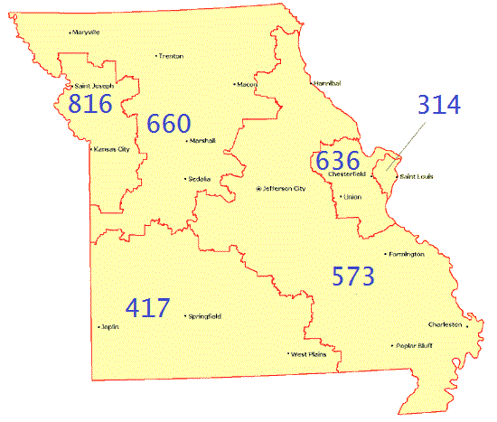 MO Area Codes Map