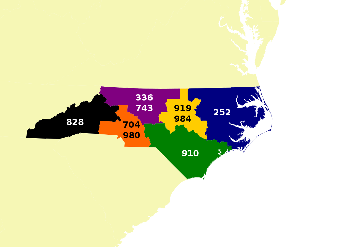 NC Area Codes Map