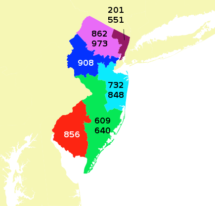 NJ Area Codes Map