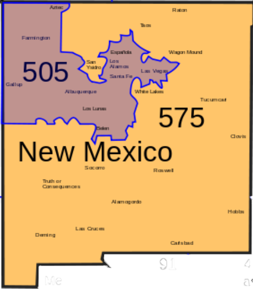 NM Area Codes Map