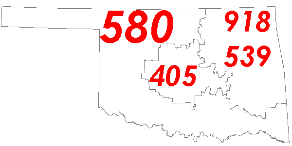 OK Area Codes Map
