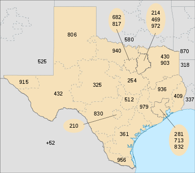 TX Area Codes Map