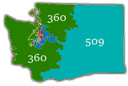 WA Area Codes Map